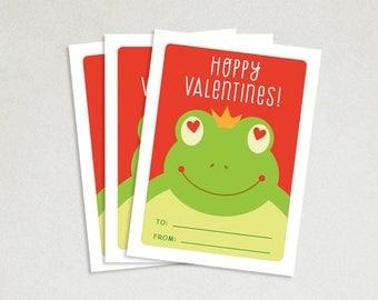 Personalized Valentines Card - School valentines - Cute valentines - Kids valentine cards - Valentine card sets - Hoppy Valentines - Frog