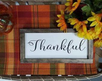 Handcrafted Wood Home Decor Sign - Thankful