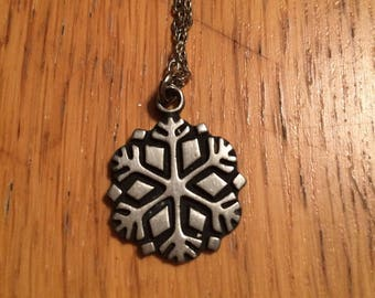 Vintage Swedish Pewter snowflake necklace.
