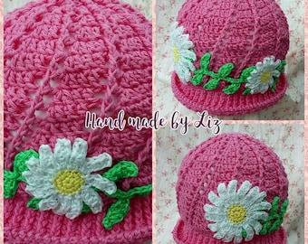 Pink cotton daisy summer Hat Crochet