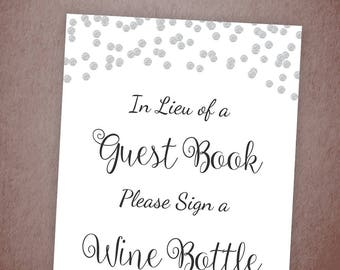 Please Sign a Wine Bottle Printable, Silver Confetti Guest Book Sign, Bridal Shower Sign, Wedding Shower Bottle Sign, Instant Download, A003