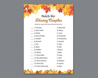 Disney Couples Match, Bridal Shower Games Printable, Fall Autumn Theme, Famous Disney Couples, Wedding Shower, Instant Download, A021