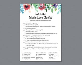 Match The Movie Love Quotes Printable, Movie Love Quote Match, Bridal Shower, Watercolor Floral, Bachelorette Party Games, Wedding, A007