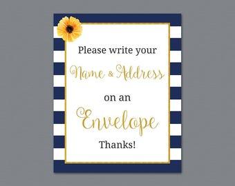 Kate Spade Name and Address Sign Printable, Envelope Sign, Please Write Your Name and Address on the Envelope, Stripes, Bridal Shower, A027