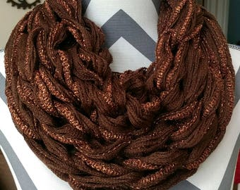 READY TO SHIP/Fall Cowl/Christmas Scarf/Cowl/Arm Knit Cowl/Infinity Scarf/Circle Scarf/Brown Scarf/Brown Cowl