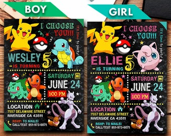 Pokemon Invitation, Pokemon, Pokemon Party, Pokemon Printable, Pikachu Invitation, Pokemon Invite, Pokemon Go Party, Birthday