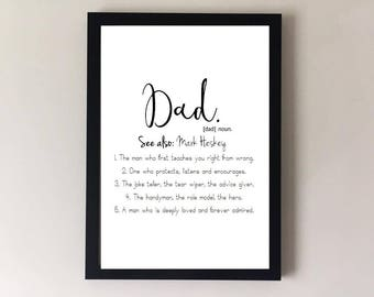 Fathers day gift. Fathers day print. Gifts for dad. New dad gift. Definition print. Dad quote. Daddy gifts. Personalised gift. Dad quotes