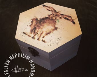 Wild Rabbit Wooden Box and clasp. Gift Box Christmas Gift for her - Jewellery Case, Gift Box, Hare, Moonlit Hare Present