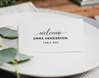 Wedding Place Cards Template, Editable Place Cards, DIY Wedding Place Cards, Editable Wedding Escort Cards, Instant Download - KPC07_204