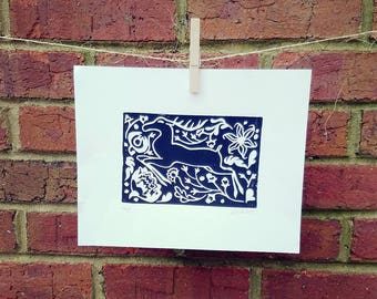 "Deer ""Stag"" - Printmaking Art - Scandinavian Folk - Floral - Decorative - Hand Pulled - Original Linocut Block Print - Black"