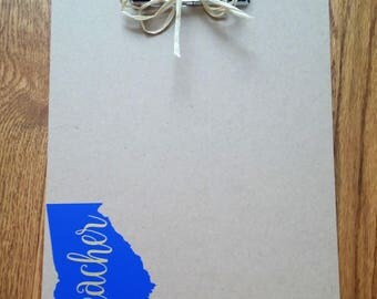 Teacher Clipboard, Clipboard with apple, Clipboard with state, Teacher Gift, ALL states avaliable