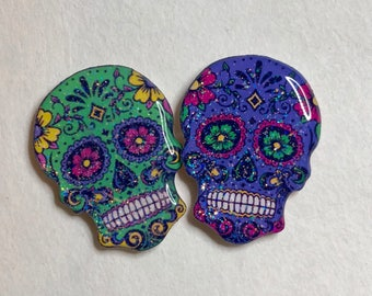 Sugar Skull Xray Markers Purple and Green Customized with Initials