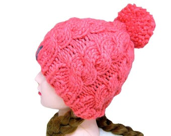 Chunky Wool Hat, Super Warm Beanie, Pom Pom Beanie, Coral Colored Hat, Knitted Womens Hat, Hat with Pom Pom, Coral Knit Hat, Red, Orange