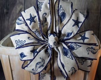 Seaworld Nautical Bow, Coastal Bow, Starfish Bow, Seashell Bow, Blue and Ivory Bow, Summer Bow, Father's Day Bow, Wreath Bow, Lantern Bow