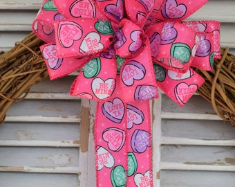 Candy Hearts Bow, Valentine's Day Bow, Sweethearts Bow, Hot Pink Bow, Valentine's Candy Bow, Wreath Bow, Gift Bow, Basket Bow