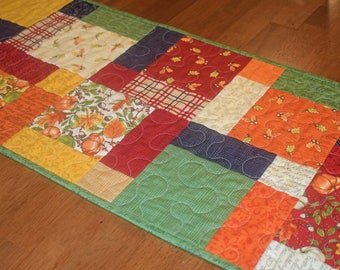 Quilted Fall Table Runner, Quilted Table Runner, Autumn Runner, Thanksgiving Table  Runner, Patchwork Table Runner, Fall Table Decor