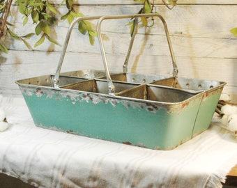 Teal Metal Caddy, Metal planter, Caddy with Handles, Farmhouse decor, Teal decor,Home decor item,Farmhouse kitchen,Kitchen decor, metal tray