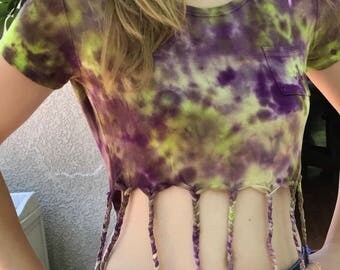 Purple and Green Upcycled Tie Dye Fringed Women's XS Crop Top