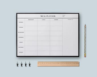 Meal Planner, Printable Planner, Desk planner pad, Meal planner pad, Menu planner, Minimalist Planner, Undated planner, Digital Download