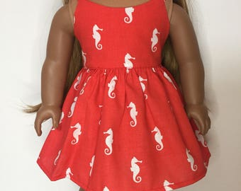 Seahorse Dress made to fit 18 inch dolls such as American Girl dolls