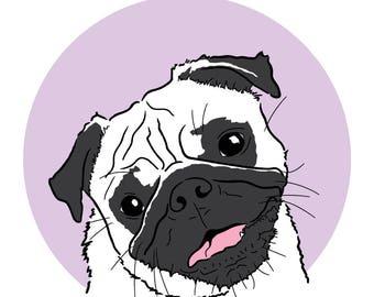 Pug Print, Pug Illustration, Pug Gift, Dog Print, Pug Wall Art, Wall Print, Pug Lover Gift