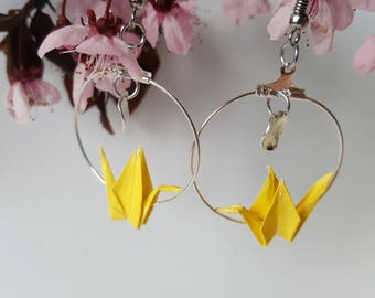 Origami crane lemon yellow hoop earrings