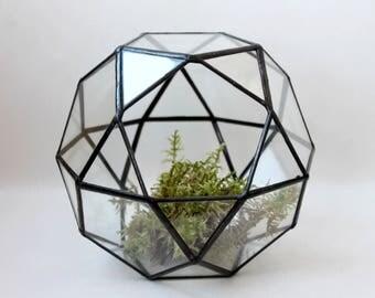 Geometric Terrarium Container, Handmade Glass Terrarium, Succulent Planter, Geometric Home Decor, Stained Glass Terrarium,  Wedding Gift