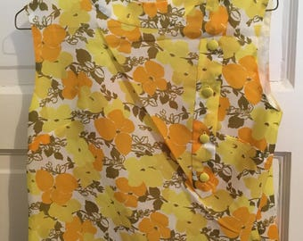 Vintage yellow and orange floral blouse