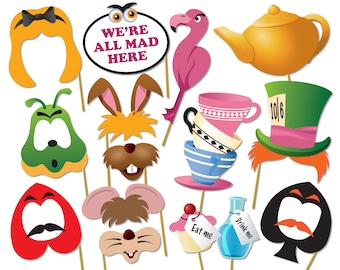 Alice in wonderland party photo booth props set - Printable PDF. Mad Hatters Tea Party Photo Booth - 0220