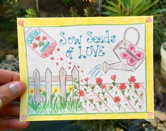 love/friendship greeting card garden theme