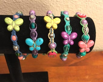 Beaded butterfly hemp bracelet glass beads colorful beads colored hemp bright colors