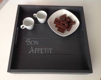 Wooden tray painted in black