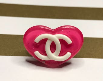 RARE Hot Pink Glitter Coco Chanel Ring, Handmade, Adjustable, Resin Ring