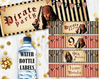 Pirates of the Caribbean water bottle labels Jack Sparrow birthday bottle labels