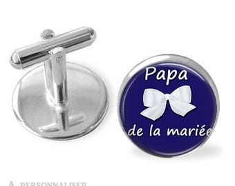 1 pair wedding dad, father of the color and text customizable bride cuff links - see color chart