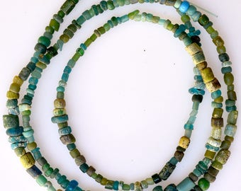 23 Inch Strand of Small Mixed Excavated Glass Beads - Vintage African Trade Beads - EX294-19