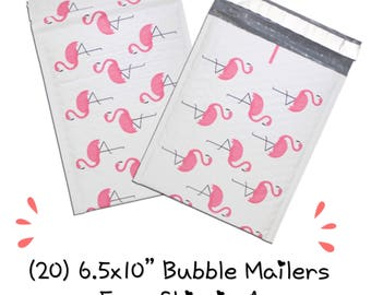 "FREE SHIPPING! (20) 6.5x10"" Pink Flamingo Designer Bubble Mailers"