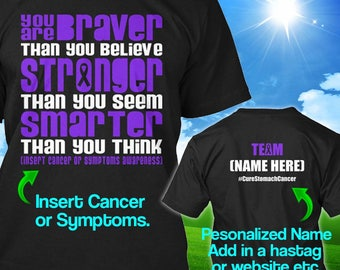 Personalized Esophageal Stomach Cancer Awareness Tshirt Periwinkle Ribbon Braver Survivor Custom T-shirt Unisex Women Youth Kids Tee