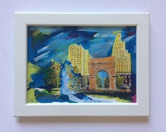 New York V Northumberland - issue No:7 white framed mixed media painting