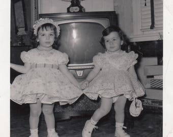 Cute Vintage Photo Little Girls Sisters Holding Hands Adorable Dresses Retro TV Fashion Found Black & White Photograph Art Ephemera Snapshot