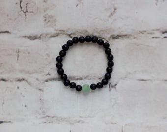 Green Aventurine Black Beaded Bracelet