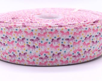"Multi Unicorn 1.5"" 38mm Width Grosgrain Ribbon per Meter"
