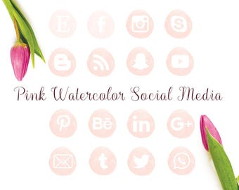 Rose watercolor social media icon, facebook, instagram, twitter, blog, digital,