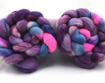 23 micron Merino, 4oz, hand dyed, wool top, spinning fiber, hand painted, boffofibers, boffo fibers