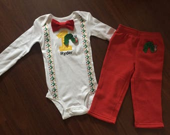 Very Hungry Caterpillar inspired First baby boy Birthday outfit, baby boy 1st Birthday Caterpillar theme