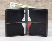 Mens Fatboy Wallet // Full Grain Horween Leather // Veg Tanned // Handmade in USA // Groomsmen Gift // Gifts for Him // Black