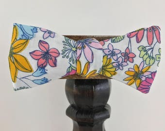 Spring Floral Men's bow tie, self-tie handmade adjustable made with upcycled material and all metal buckle // bow tie for men // ReTied