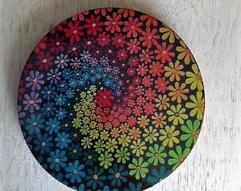 Gay Pride Rainbow Flower Magnet, Pride Flower Refrigerator Magnet, Gay Pride Flower Coaster, Gay Pride Flower Christmas Ornament, Gay Pride