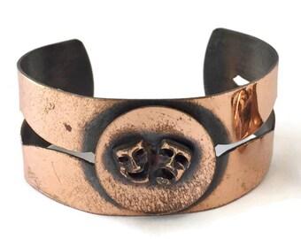 Comedy and Tragedy Copper Cuff Bracelet