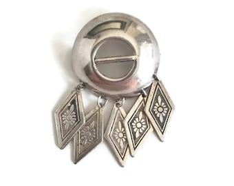 Modernist Sterling Silver Brooch Made in Sweden, Mid Century Silver Pin, Dangle Brooch, Scandinavian Jewelry, Swedish Silver Jewelry